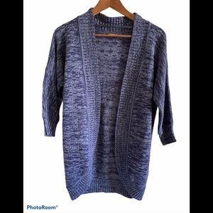 Denver Hayes blue 3/4 sleeve knit cardigan sm